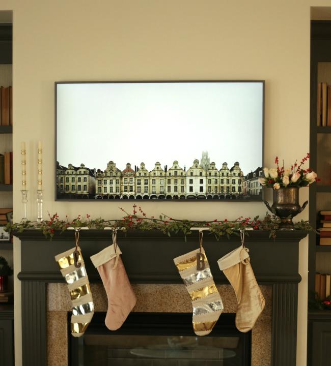 Christmas mantel with Samsung The Frame TV