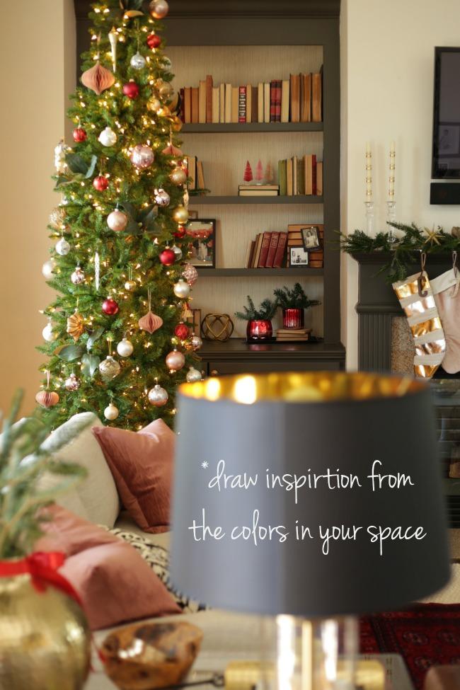 christmas bookshelf styling ideas