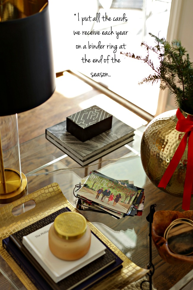 side table christmas cards