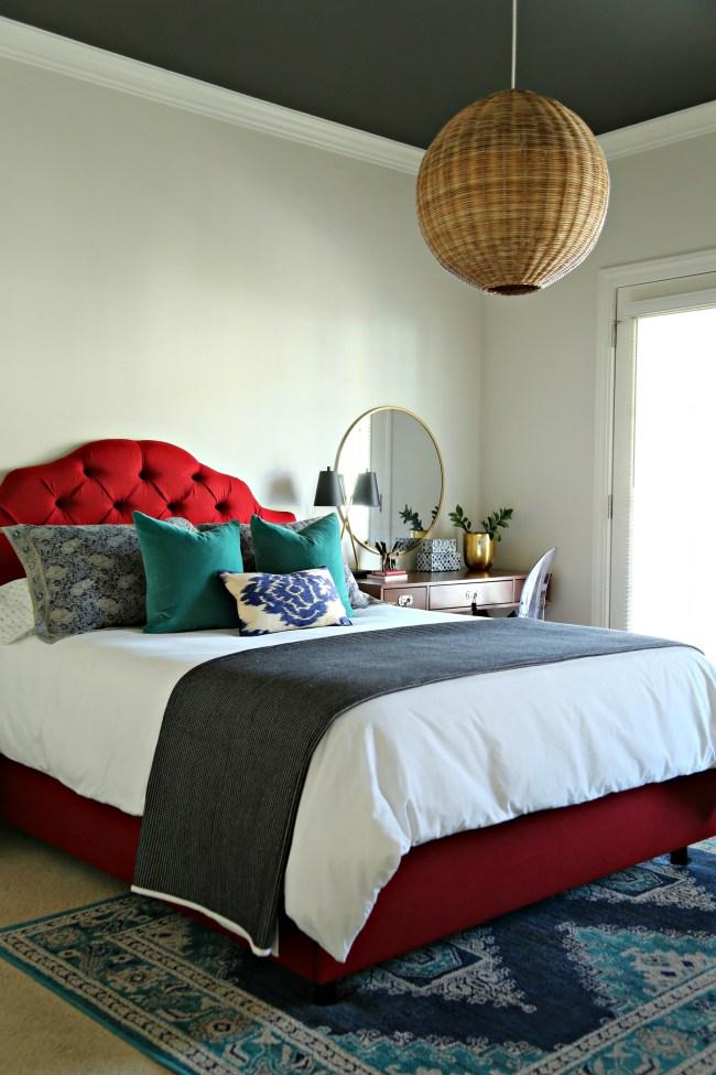 guest bedroom red upholstered bed
