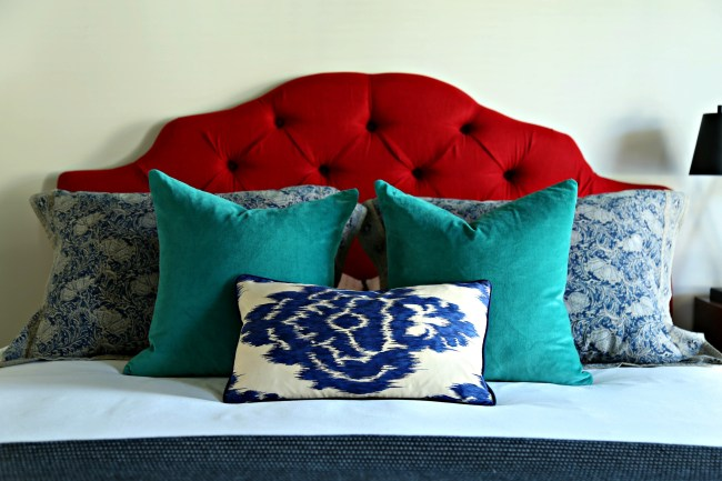 guest bedroom red navy and teal