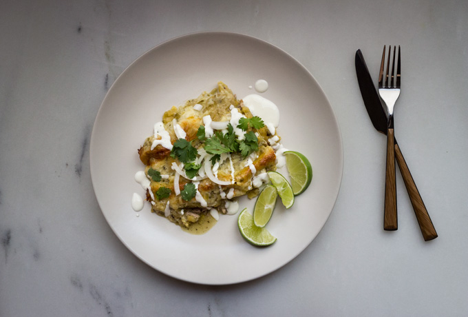 Grilled Chicken Enchiladas Verdes