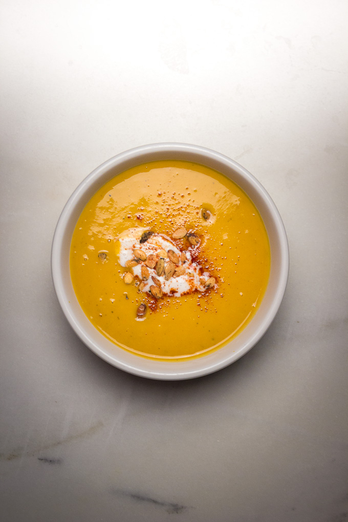 Instant Pot Creamy Butternut Squash + Apple Soup
