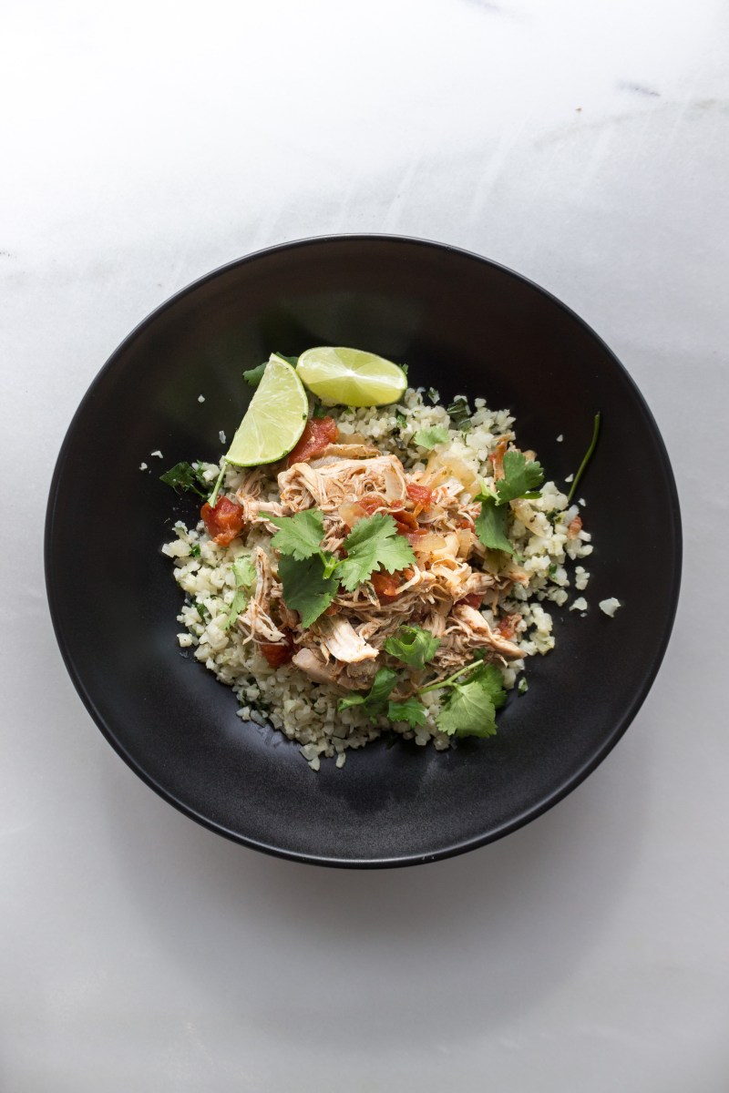 Slow Cooker Mexican Chicken with Cilantro Lime Cauliflower Rice {Paleo}