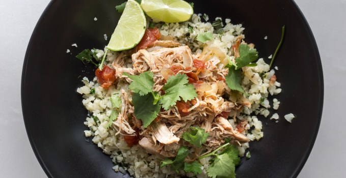 Slow Cooker Mexican Chicken with Cilantro Lime Cauliflower Rice {Paleo + Whole30}