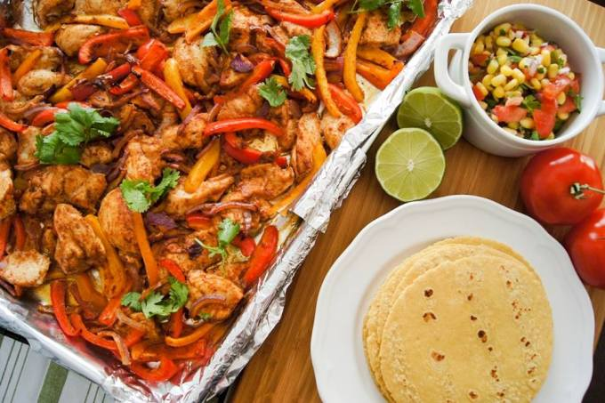 Sheet Pan Chilli-Lime Chicken Fajitas with Corn & Cilantro Salsa by The Messy Little Kitchen