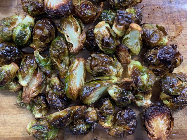 brussel sprouts roasted in camel hump fat