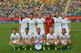 The USA's starting lineup against Colombia in a Round of 16 matchup in the 2015 FIFA Women's World Cup.