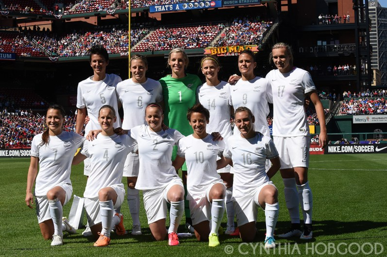 New Zealand's starting lineup against the United States on April 4, 2015, at Busch Stadium in St. Louis, Missouri.