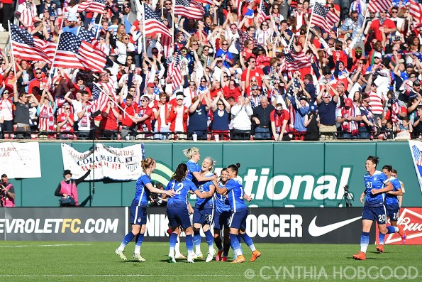 USA celebrating Julie Johnston's (26) goal against New Zealand.