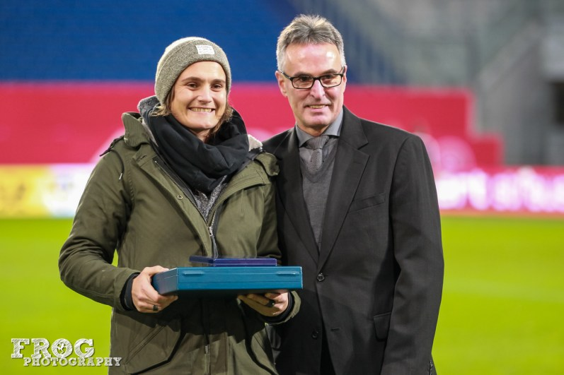 Nadine Angerer is honored for her 146 caps for Germany.