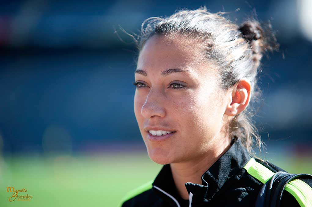 Christen Press during pregame practice.