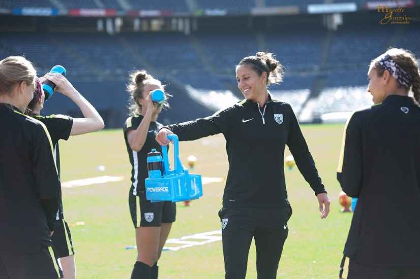Always helpful, Carli Lloyd during practice.