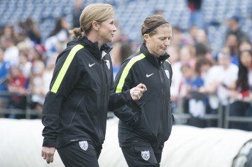 """""""So, I said..."""" Jill Ellis and Michelle French."""