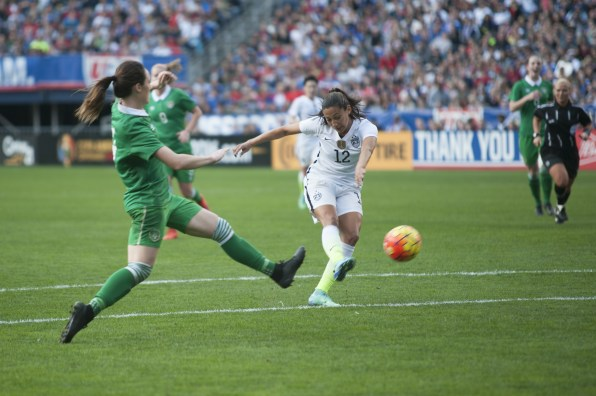 Christen Press with the shot attempt.