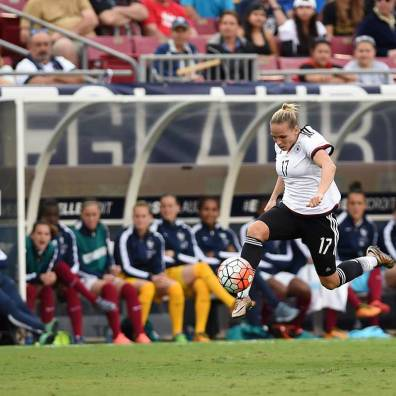 Germany's Isabel Kerschowski on the attack.