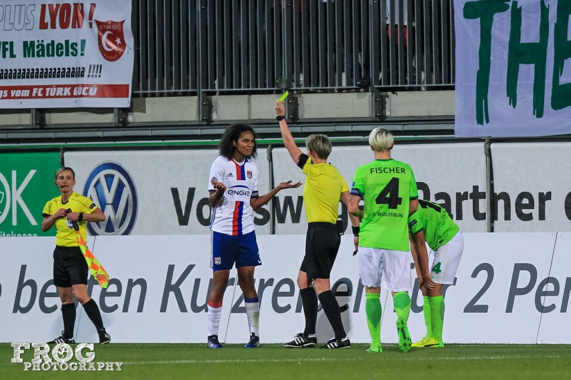 "How do you say, ""Who me?"" in French? Wendie Renard (OL) receives a yellow card."