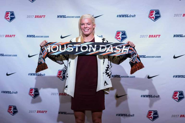 Jane Campbell is drafted by the Houston Dash. (Manette Gonzales)