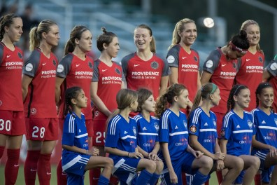 Portland Thorns FC during introductions (Shane Lardinois).