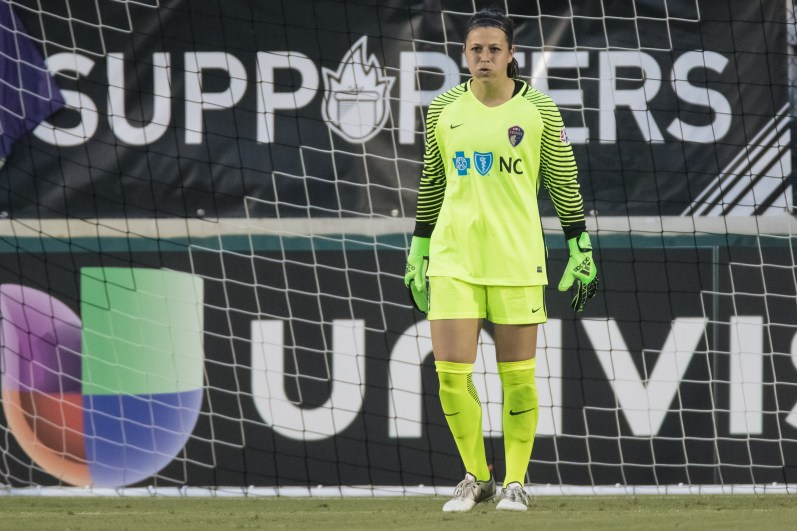Sabrina D'Angelo of the North Carolina Courage takes a moment.