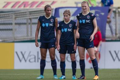 A wall of Lynn Williams, McCall Zerboni, and Sam Mewis. (Shane Lardinois)