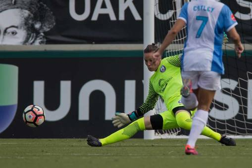 Ashlyn Harris makes the kick save. (Shane Lardinois)