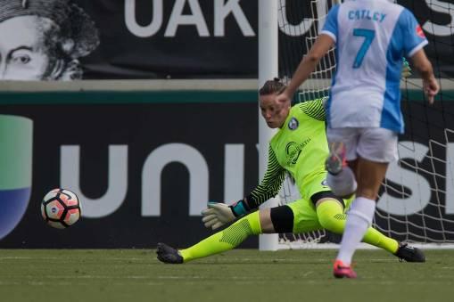Ashlyn Harris makes the kick save. (Shane Lardinois)