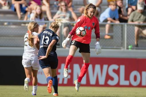 Katelyn Rowland out of the box to clear the ball. (Shane Lardinois)