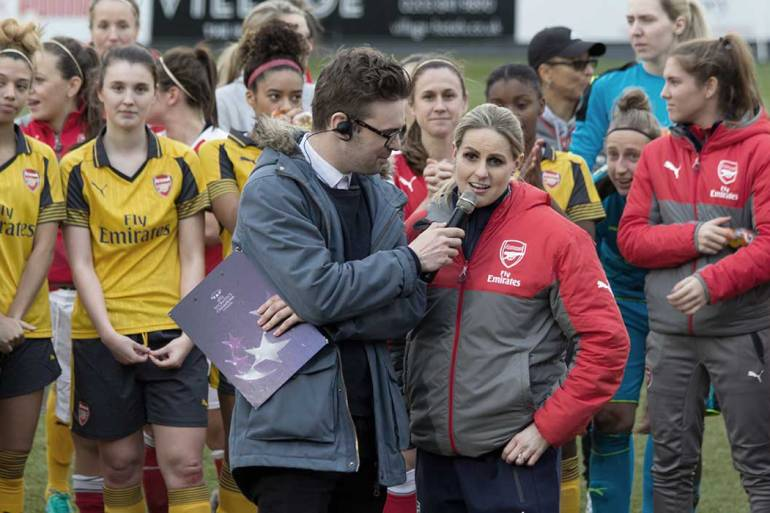Kelly Smith speaking after her testimonial match. (Katie Chan, wiki commons)