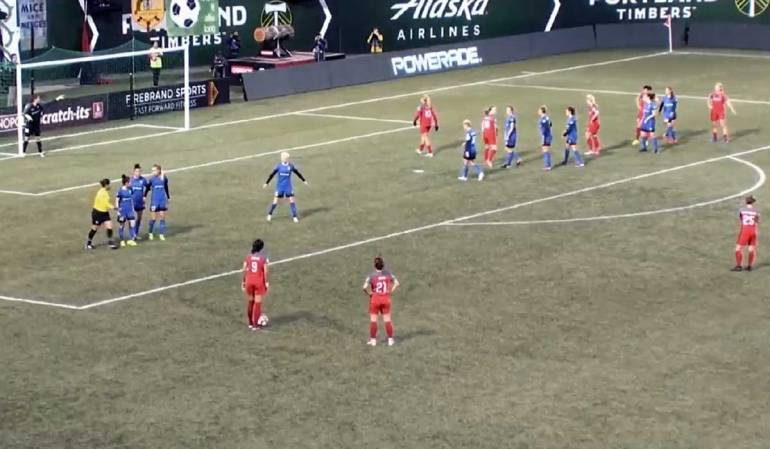 screenshot of free kick in portland game against seattle