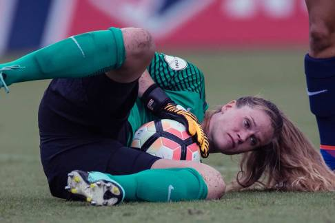 This look says its all. Alysaa Naeher makes a save for the Chicago Red Stars. (Shane Lardinois)