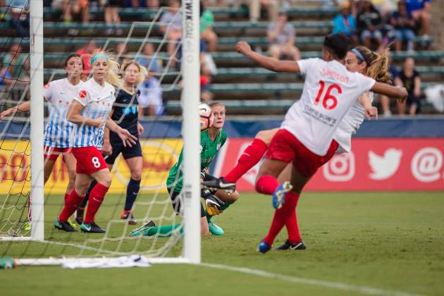 If not for Naught[on]. Katie Naugton makes a goal-line clearance for the Chicago Red Stars. (Shane Lardinois)