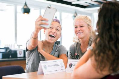 Jaelene Hinkle and Makenzy Doniak taking a selfie during 2017 NWSL Media Day. (Monica Simoes)