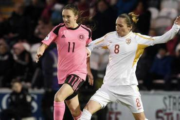 Lisa Evans of Scotland against Macedonia. (YouTube)