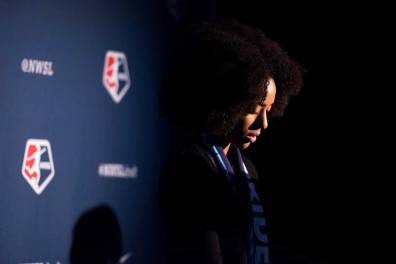 Nadia Gomes, draftee of Orlando Pride, at the 2018 NWSL College Draft (Monica Simoes)