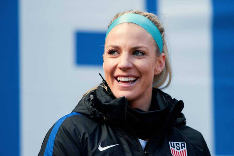 Julie Ertz during warm-ups at the 2018 SheBelieves Cup. (Monica Simoes)