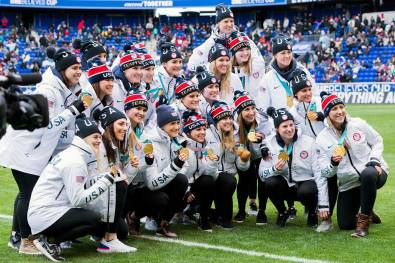 The Olympic gold-medal winning U.S. Women's National Hockey Team before the 2018 SheBelieves Cup. (Monica Simoes)