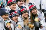 Members of the gold-medal winning U.S. Women's National Hockey Team are honored at the 2018 SheBelieves Cup. (Monica Simoes)