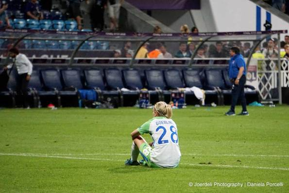 Wolfsburg's Lena Goeßling after the 2018 Champions League final. (Daniela Porcelli)