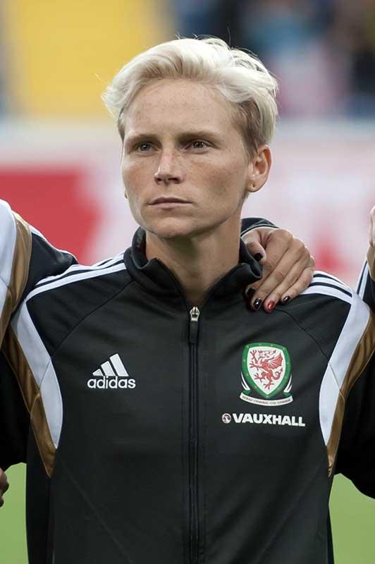 Close-up image of Jess Fishlock in Wales' starting lineup. (Ailura, CC BY-SA 3.0 AT [CC BY-SA 3.0 at (https://creativecommons.org/licenses/by-sa/3.0/at/deed.en)], from Wikimedia Commons)