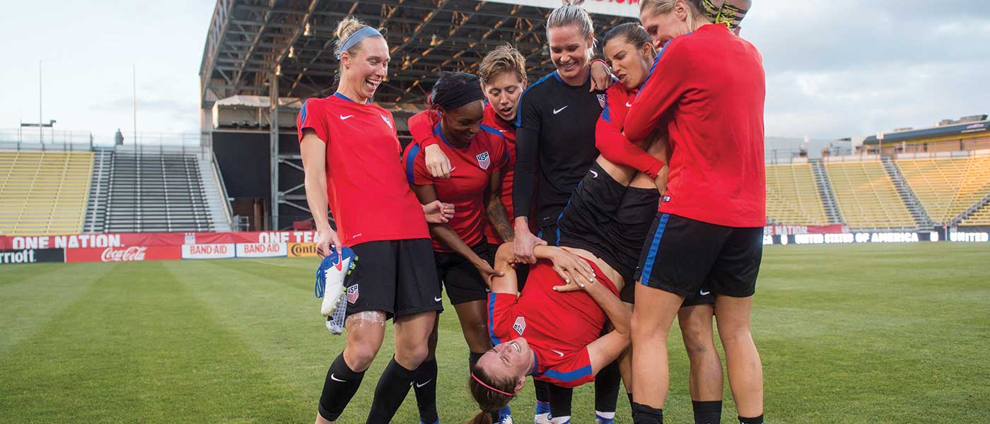 Members of the U.S. WNT playing around after practice. Edited version. (Brad Smith/ISI)