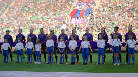Barcelona's starting lineup for the 2019 UEFA Women's Champions League final. (Porcelli / OGM)