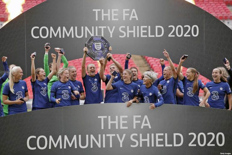 Chelsea celebrating winning the FA Community Shield. (Getty Images)
