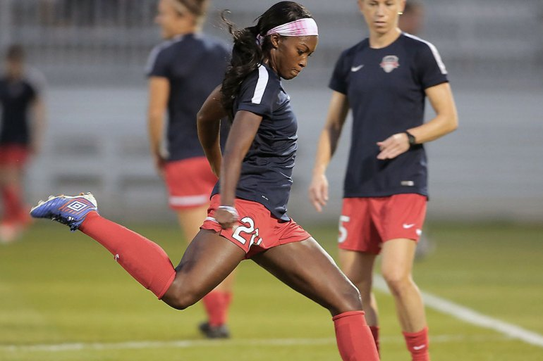 Cheyna Matthews kicking the ball during warm-ups with the Washington Spirit. (Washington Spirit)