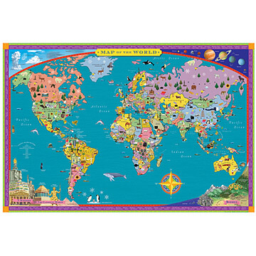 Childrens world map | Travel gift ideas for boys from Uncommon Goods
