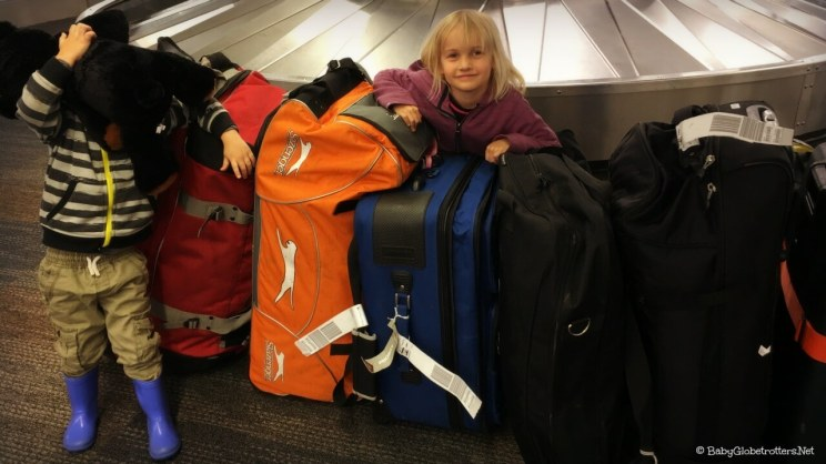 Taking a lot of luggage travelling with kids
