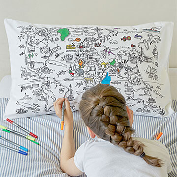 Colour your own world map pillow case