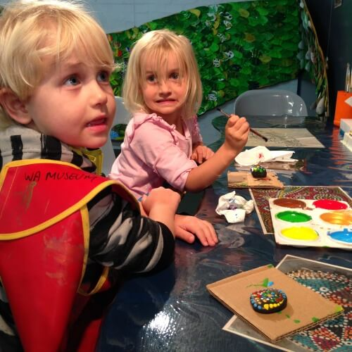 Kids enjoying art activities at the Great Southern Museum Albany WA | Things to do in Albany Western Australia with Kids