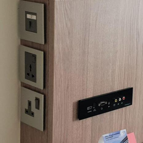 Power points in the room | Novotel World Trade Centre Dubai Family Review