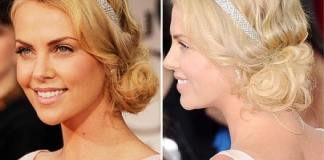 Charlize Theron retro hairstyle Golden Globe Awards